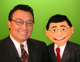 Mario Bosquez and puppet Mario